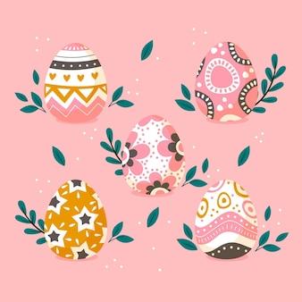 Kolekcja kolorowych płaskich dekoracyjnych pisanek
