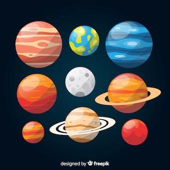 Kolekcja kolorowych płaskich planet