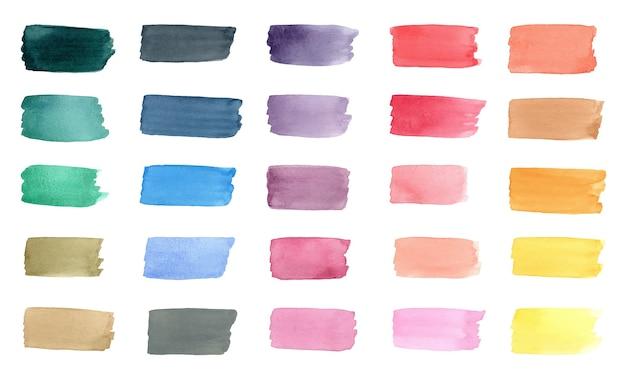 Kolekcja kolorowych pociągnięć pędzla akwarela