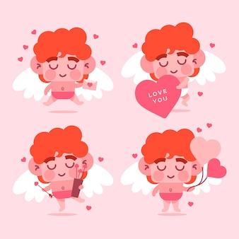 Kolekcja kolorowych postaci amora