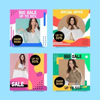 Kolekcja kolorowych postów na instagramie sprzedaży
