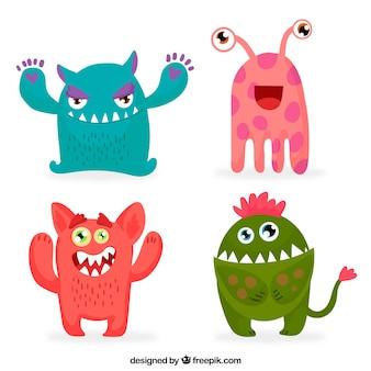 Kolekcja kolorowych potworów