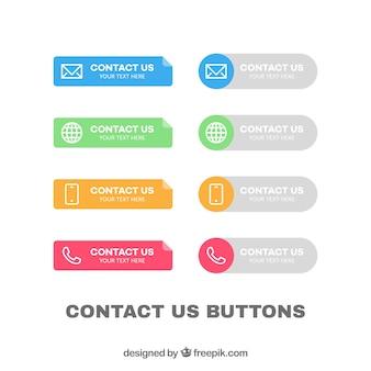 Kolekcja kolorowych przycisków kontaktowych