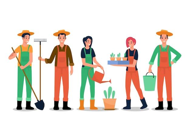 Kolekcja kolorowych rolników