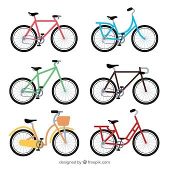 Kolekcja kolorowych rowerów w płaskim stylu