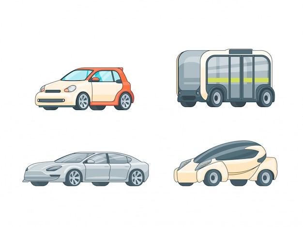 Kolekcja kolorowych samochodów elektrycznych