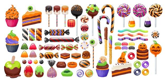 Kolekcja kolorowych słodyczy halloween