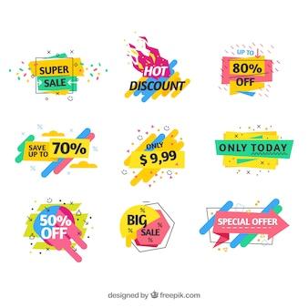 Kolekcja kolorowych sprzedaży etykiet