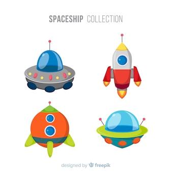 Kolekcja kolorowych statków kosmicznych o płaskiej konstrukcji