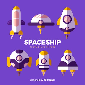 Kolekcja Kolorowych Statków Kosmicznych O Płaskiej Konstrukcji Darmowych Wektorów