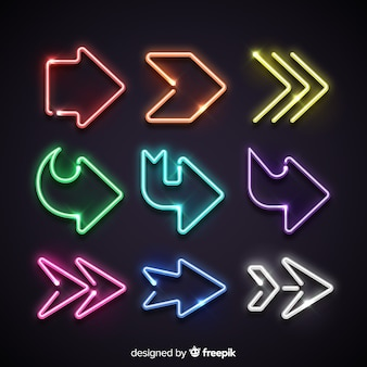 Kolekcja kolorowych strzałek neon