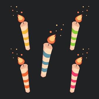 Kolekcja kolorowych świec urodzinowych
