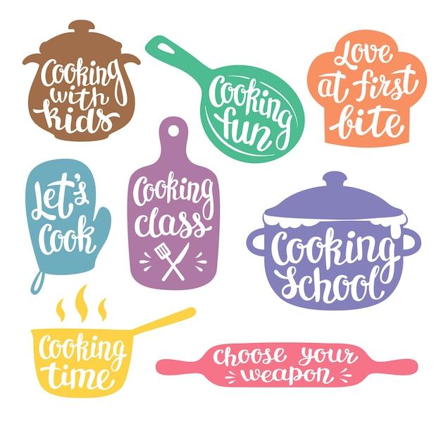 Kolekcja kolorowych sylwetek do gotowania etykiety