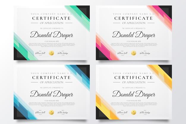 Kolekcja kolorowych szablonów certyfikatów