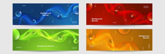 Kolekcja kolorowych szablonów transparentu. streszczenie baner internetowy. nagłówek, elementy projektu strony docelowej. abstrakcyjne poziome tła szablonu projektu banera internetowego