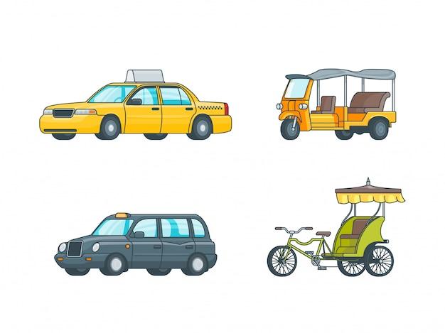 Kolekcja kolorowych taksówek transportowych