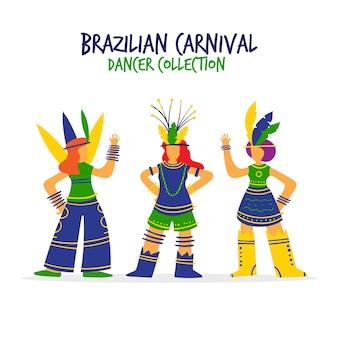 Kolekcja kolorowych tancerzy karnawałowych brazylijskich