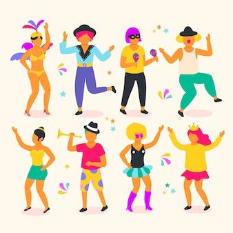 Kolekcja kolorowych tancerzy karnawałowych