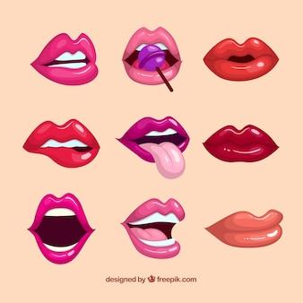 Kolekcja kolorowych ust z płaskiej konstrukcji