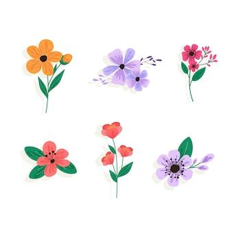 Kolekcja kolorowych wiosennych kwiatów w płaskiej konstrukcji