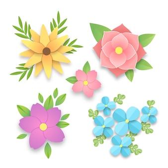 Kolekcja kolorowych wiosennych kwiatów w stylu papieru