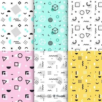 Kolekcja kolorowych wzorów memphis