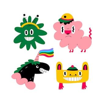 Kolekcja kolorowych zabawnych naklejek