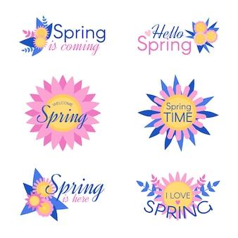 Kolekcja kolorowych znaczków wiosennych