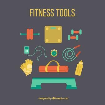 Kolekcja kolory narzędzi fitnessu