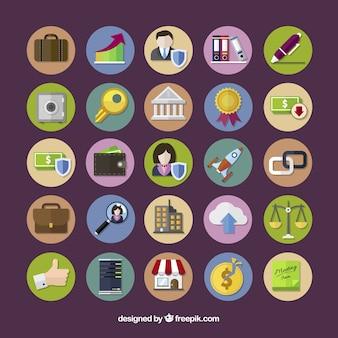 Kolekcja kolorze ikony biznesu