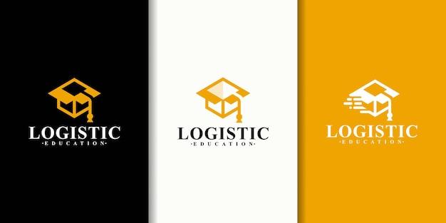 Kolekcja kombinacji logo kapelusza uniwersyteckiego z projektem logo pudełka logistycznego.