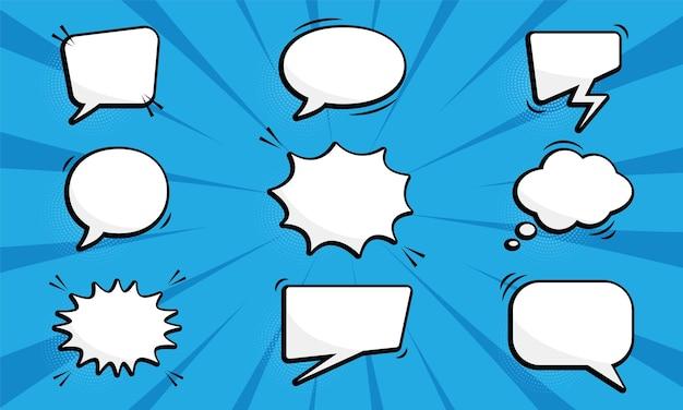 Kolekcja komiksowych balonów mowy na tle pop-artu