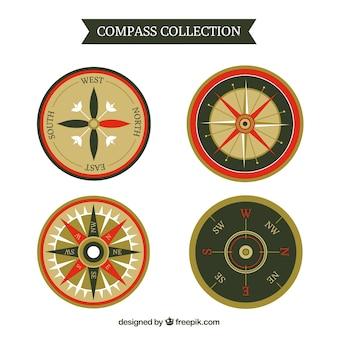 Kolekcja kompas w stylu płaski