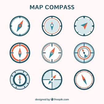 Kolekcja kompasu z mapą płaską