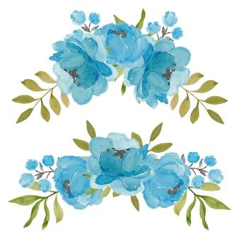 Kolekcja kompozycja kwiat akwarela piwonia