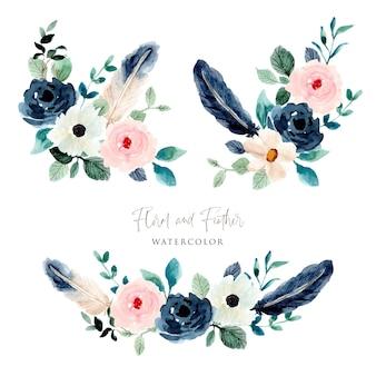 Kolekcja kompozycji akwarelowych kwiatów i piór