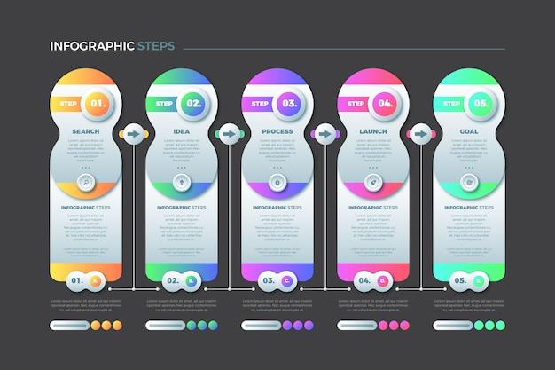 Kolekcja koncepcja infographic kolorowe kroki