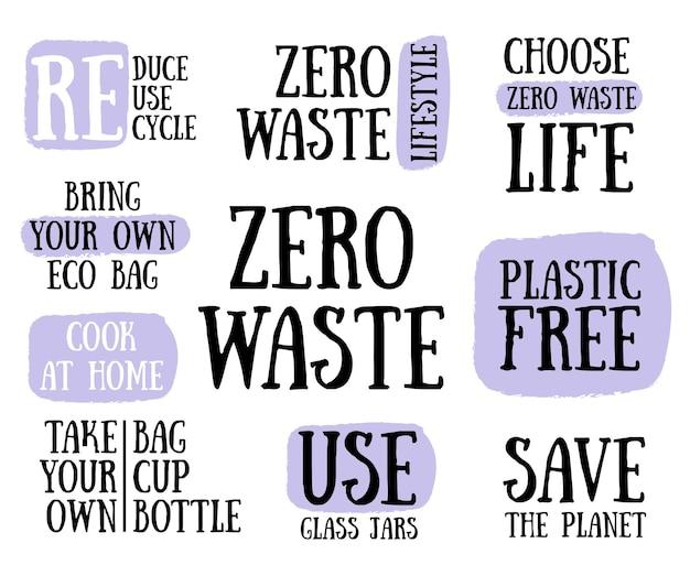 Kolekcja koncepcji stylu życia bez odpadów