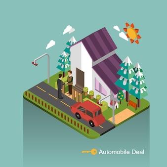 Kolekcja koncepcji transakcji samochodowych w 3d izometrycznej płaskiej konstrukcji