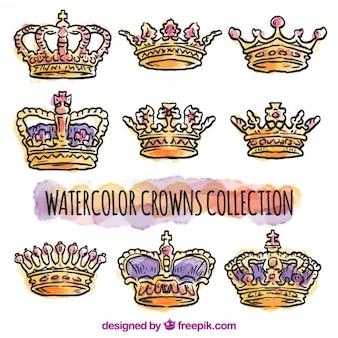 Kolekcja korony akwarela