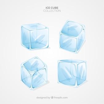 Kolekcja kostek lodu o płaskiej konstrukcji