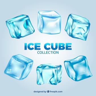 Kolekcja kostek lodu w realistycznym stylu