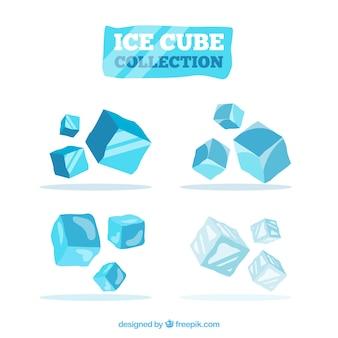 Kolekcja kostek lodu z projektem 2d
