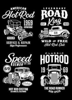 Kolekcja koszulek graficznych vintage hot rod