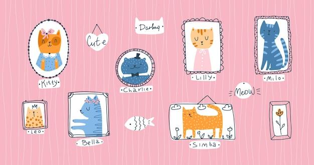 Kolekcja kotek. portrety kotów domowych w prosty, ręcznie rysowane stylu skandynawskim kreskówki dziecinny. kolorowe słodkie doodle zwierzęta w ramkach na różowym tle z pseudonimami.