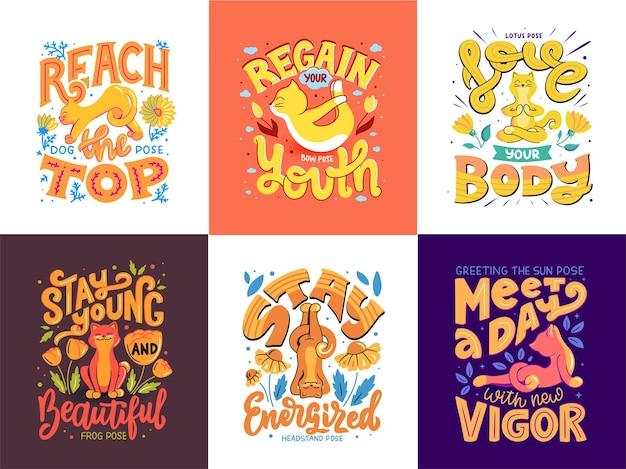 Kolekcja kotów do jogi dla zdrowego stylu życia. postaci z kreskówek mają sześć różnych pozycji z frazami literowymi.