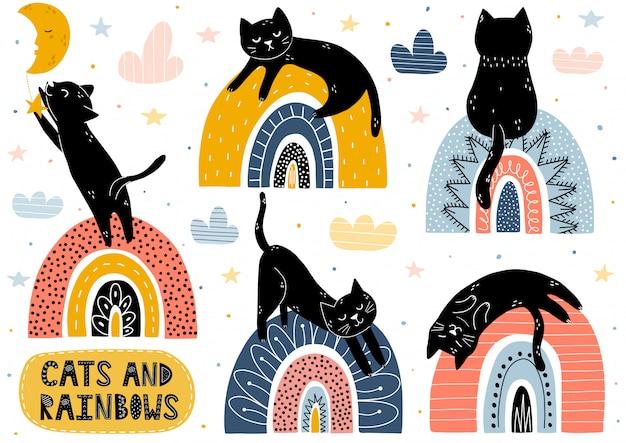Kolekcja kotów i tęcz. elementy fantasy na białym tle z uroczych postaci