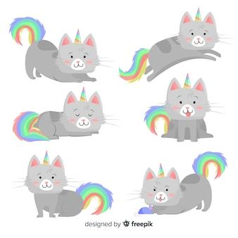 Kolekcja kotów w stylu jednorożca kawaii