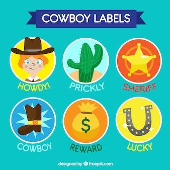 Kolekcja kowbojskich etykiet