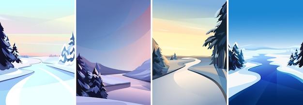 Kolekcja krajobrazów rzecznych. scenerie zimowe w orientacji pionowej.